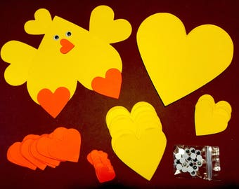 12 heart chick valentine's day. Easter.farm.crafts for children