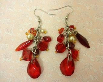 Red glass Earrings, Glass and Pearl Earrings, Glass Earrings, Red Drop Earrings, Ruby Red Earrings, Red Dangle Earrings, Festival Earrings