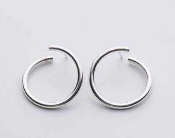 Open Circle Stud Earrings, Round Sterling Silver Earrings, Simple Stud Earring For Women, Front Hoop Earrings, Everyday Circle Studs