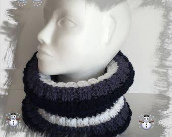 Neck, snood, scarf hood, neck wrap shoulder soft thick wool warm and cozy, Navy, blue jean and white