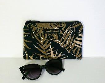 Handmade tablet or makeup bag - Key West Hand Print bamboo print