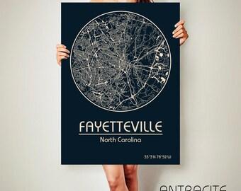 FAYETTEVILLE North Carolina CANVAS Map Fayetteville North Carolina Poster City Map Fayetteville North Carolina Art Print Fayetteville NC