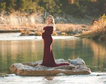 Maternity Dress for Photo Shoot-Long Maternity Dress-Fitted Maternity Gown-Maxi Gown-Maternity Dress for Baby Shower-PENELOPE DRESS