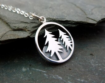 Sterling Silver Redwood Tree Pendant, Mountain Necklace, Scenic Jewelry, Wanderlust Necklace, Hiking Jewelry, Pine Tree Necklace, Forest