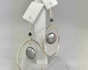 Grey coin mother of pearl dangle sterling silver earrings