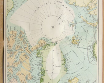 1880s Antique Map : North Pole, Arctic Circle, Greenland, Published by MacKenzie. Lovely Pastel Colours