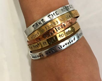 Stamped jewelry - personalized jewelry, adjustable bracelet, casual cuff bracelet, gift for her