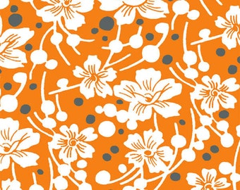 Mandarin Orange Flowers and Pebbles fabric from the Mimosa Collection by Another Point of View for Windham Fabrics #39982-5