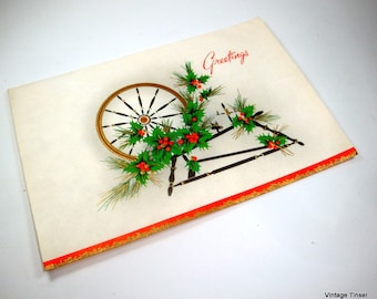 Vintage Christmas Greetings Card From Moline Motel, Spinning Wheel, A Holiday Sunshine Card  (3013)