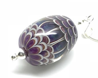 Sterling silver and lampwork bead pendant in teal green by Helen Gorick