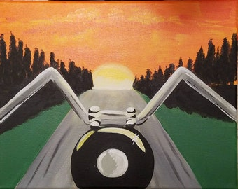 Riding into the Distance, 11 x 14 Acrylic Painting, Motorcycle, Harley Davidson, Rider, Open Road, Sunset