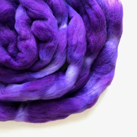 GRAPE hand dyed roving merino wool