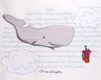 Hitchhiker's Guide to the Galaxy Whale & Petunia 8x12 machine embroidery design