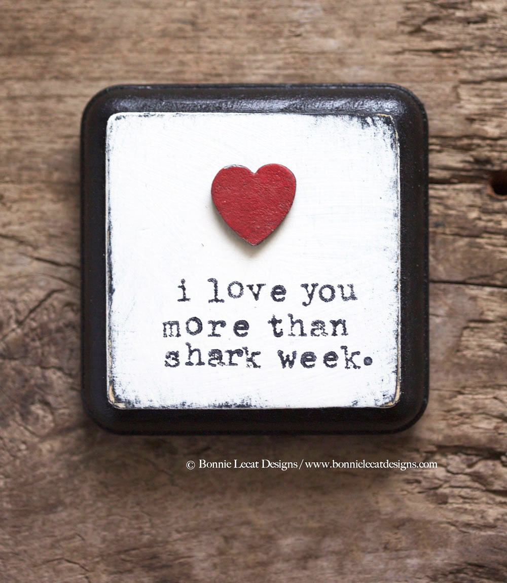 I Love You More Than Funny Quotes Funny Valentine Shark Week Small Rustic Sign Gift For Her