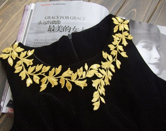Applique,Gold embroidered  leaves applique patch iron-on for decoration-23cm length, 1 pcs