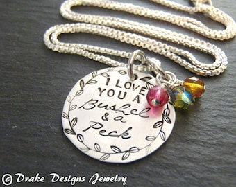 Sterling silver I love you a bushel and a peck necklace personalized mothers necklace mom birthstone necklace