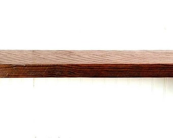 "Reclaimed rough sawn hemlock 12"" mantel style wall shelf with brackets and hardware included"