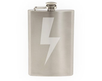 Weather Symbol #1- Lightning Strike Mighty Strike- Etched 8 Oz Stainless Steel Flask