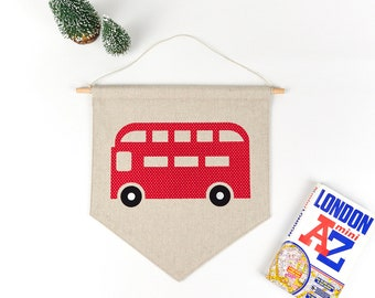 London Red Bus, Kid's Room Decor, Transport Wall Art, Pennant Banner, Children's Decor, Double Decker, Nursery Decor, Baby Room Decor
