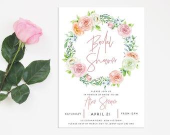 Floral Wreath Printable Bridal Shower Invitation