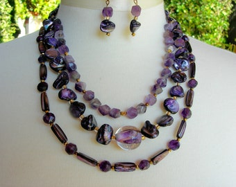 Pretty Purple Pearls & Amethyst, Lampwork Glass Focal Bead, Gold/Shell/Pearl Beads, Multi-Strand Necklace Set by SandraDesigns