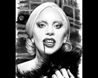 "Print 8x10"" - The Countess - American Horror Story Hotel Nick Pryor Denis O'Hare Evan Peters Lady Gaga Countess Dark Art Horror Mr. March"