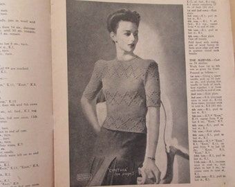 Vintage (1940s) knitting book,  Patons No. 183, ladies fashions