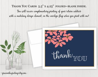 Thank You Cards, Thank You Notes, Thank You Stationery, Wedding, Bridal, Birthday, digital, printable, TY608