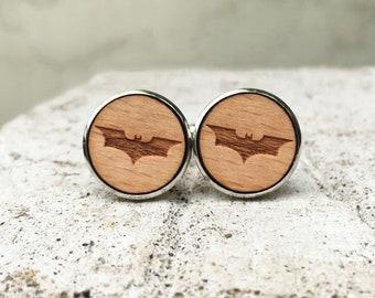Batman Wooden Cufflinks - Laser Engraved DC Suit Accessory