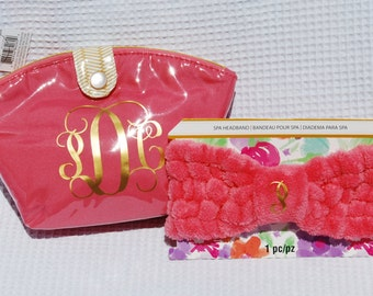 Makeup bag & spa headband,Cosmetic travel bag,Inexpensive gifts for her, Spa headband,Unique gift, Graduation gift for girls, Gift for Mom