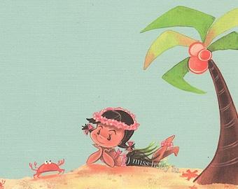 Girl Party Invitation Set of 12, Hawaiian, Hula Girl, Luau, Palm Tree, Little Crab, Blue Sky, Linen Card Stock by MissHollyLu