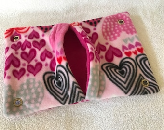"Ready to Ship! 9""x14"" Pocket Hammock for Pet Rats, Sugar Gliders - All Fleece Valentine Hearts with Magenta Pink Interior"