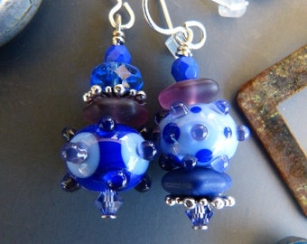 Blue and Purple Asymmetrical Lampwork Earrings