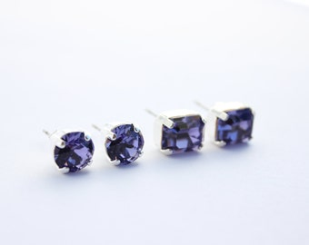 Swarovski earrings, purple post earrings, Tanzanite earrings, purple post earrings, octagon earrings, Tanzanite stud earrings, wedding 3