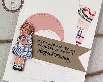 Pretty Birthday Handmade Greeting Card - Stampin' Up Birthday Memories Girl