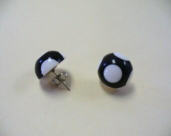 Vintage Black and White Polka Dot Earrings DEADSTOCK