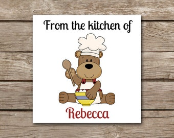 Baking Tags, Gift Tags, PERSONALIZED, Bear Baking Tag, Cookie Gift Tag, Christmas Gift Tag, Holiday Gift Tag, Bear Label, Bear Sticker, Tag