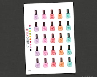 Planner Stickers - Manicure / Pedicure / Nail Polish Stickers  -  Repositionable Matte Vinyl
