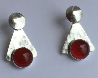 Silver and Carnelian stone earrings