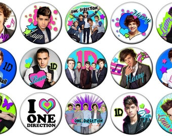 "2-1/4""  - ONE DIRECTION  -  Lot of 15 Buttons - Pin Back Button Badge"