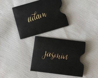 Business card sleeve etsy hand lettered black gift card envelopes black business card sleeves colourmoves