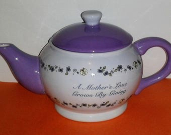 Rare MOTHER'S DAY Porcelain Teapot by Precious Moments~  Lavender + White
