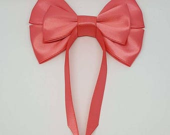 Coral Swallow Tail Hair Bow