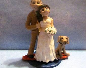 Destination Wedding Cake Topper,Custom wedding cake topper, Bride and groom cake topper, personalized cake topper, surfer cake topper