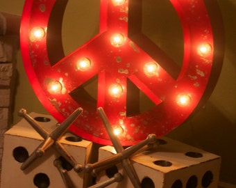 Large Old Vintage Style Marquee Peace Sign Metal Steel..........Kids Teens Game Room Wedding Birthday Home Decor