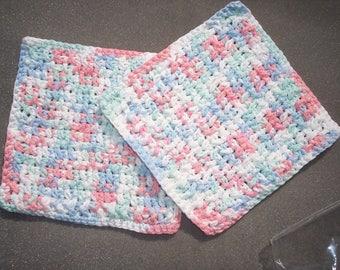 2 handmade cotton crochet washcloths dishcloths  -- 1135