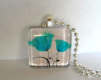 Two Teal Flowers Glass Tile Pendant