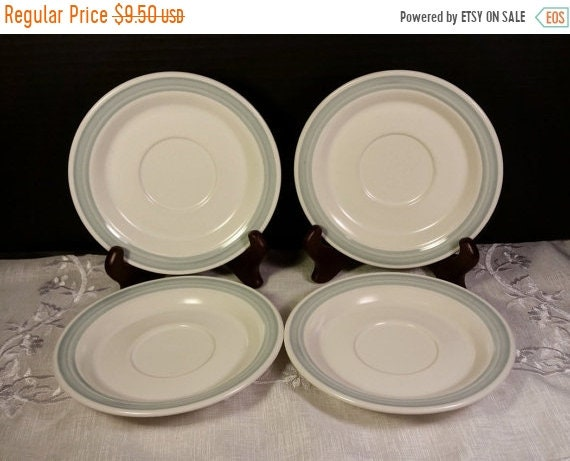 Delayed Shipping Country Glen Sunny Meadows Saucers Vintage Set of 4 Saucers Japan Stoneware Blue & Cream Saucers Replacement China Oven Dis