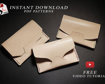 3 Easy card holders pdf patterns + video tutorial/ leather craft