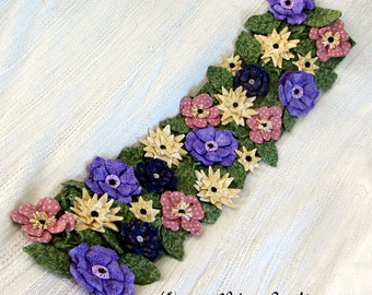Pdf PrimitivePattern Table Runner, Flowers, Fabric Flowers, Leaves,Primitive Pattern